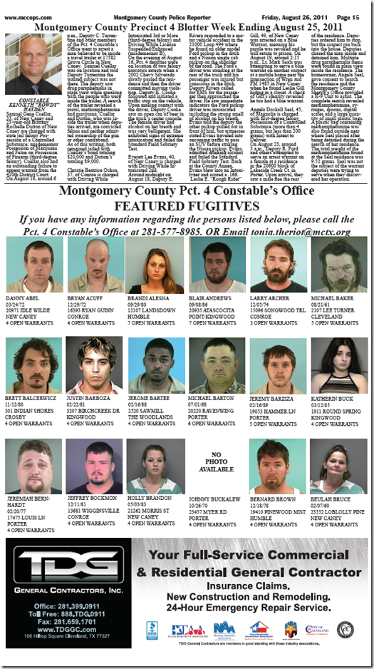 MONTGOMERY COUNTY PRECINCT 4 FEATURED FUGITIVES FOR AUGUST 25, 2011