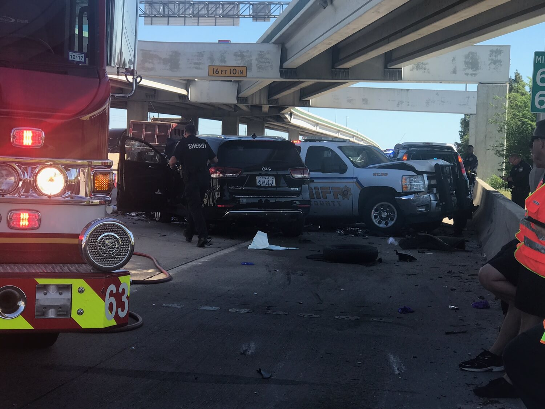 HARRIS COUNTY SHERIFF'S OFFICER INVOLVED IN I-45 CRASH