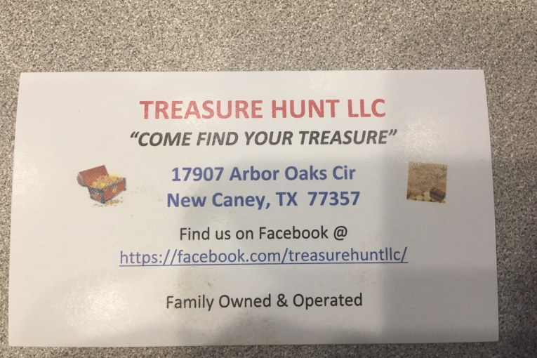 EARLY CHRISTMAS SHOPPING-TRY TREASURE HUNT LLC IN NEW CANEY