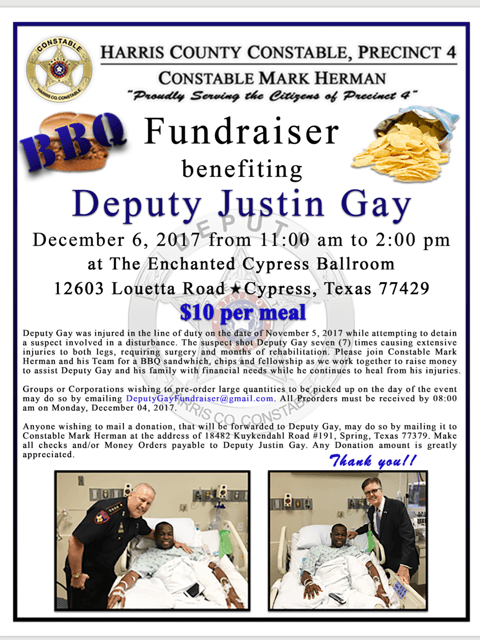 TOMORROW is the BIG FUNDRAISER for our  Deputy Justin Gay!!!!!