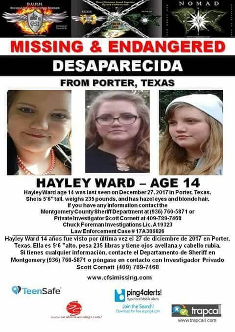 MISSING ENDANGERED CHILD - FROM PORTER, TX