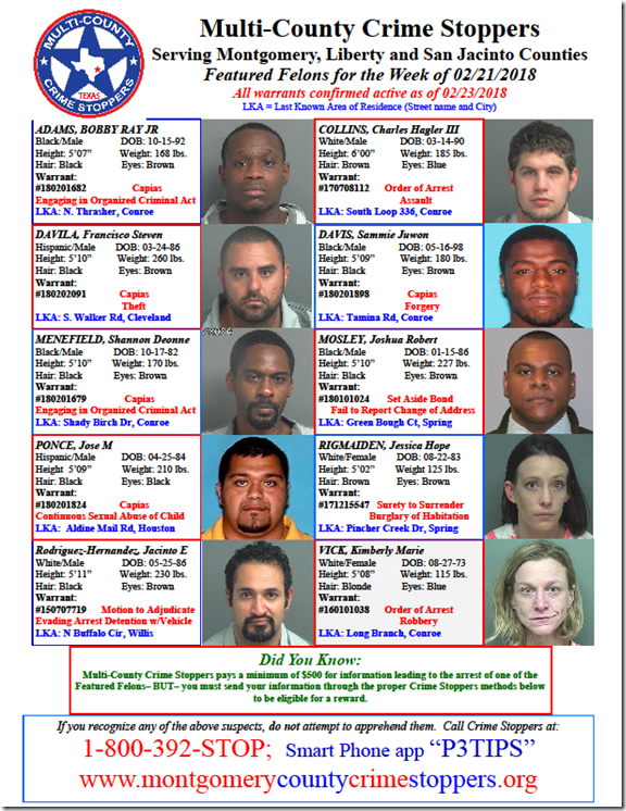 CRIME STOPPERS FEATURED FELONS 2.23.18