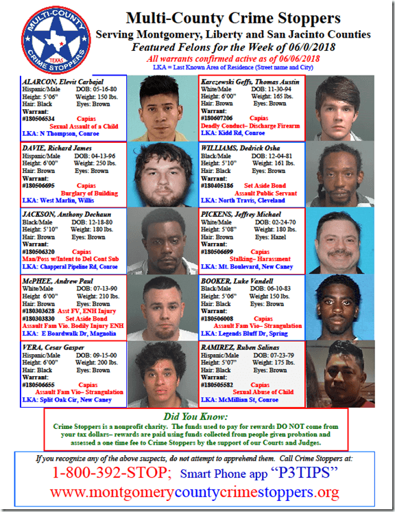 CRIME STOPPERS FEATURED FELONS 6.8.18