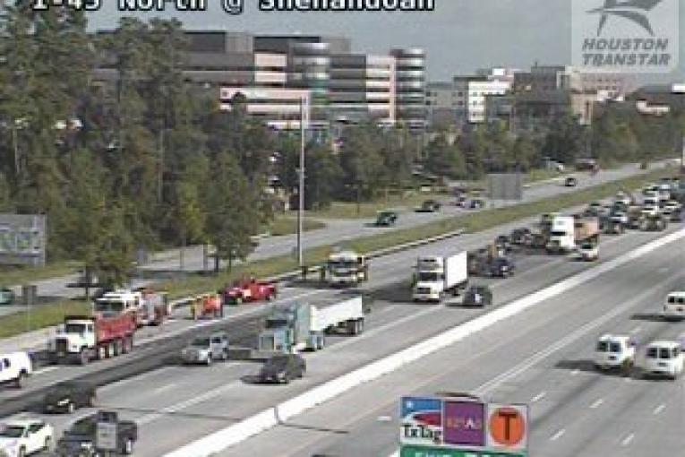 HAZMAT SPILL ON I-45 HAS TRAFFIC BACKED UP