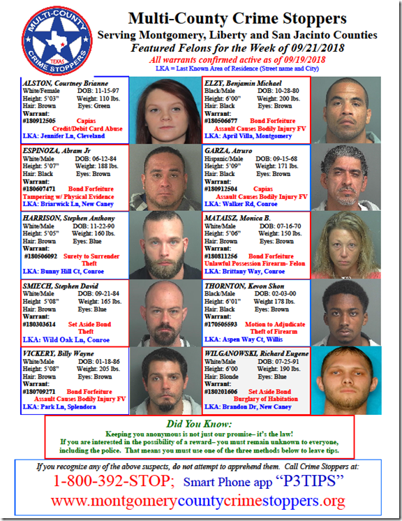 CRIME STOPPERS FEATURED FELONS 09.21.18