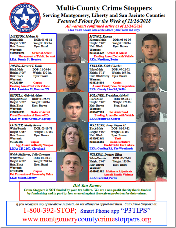 Crime Stoppers Featured Felons 11.16.18