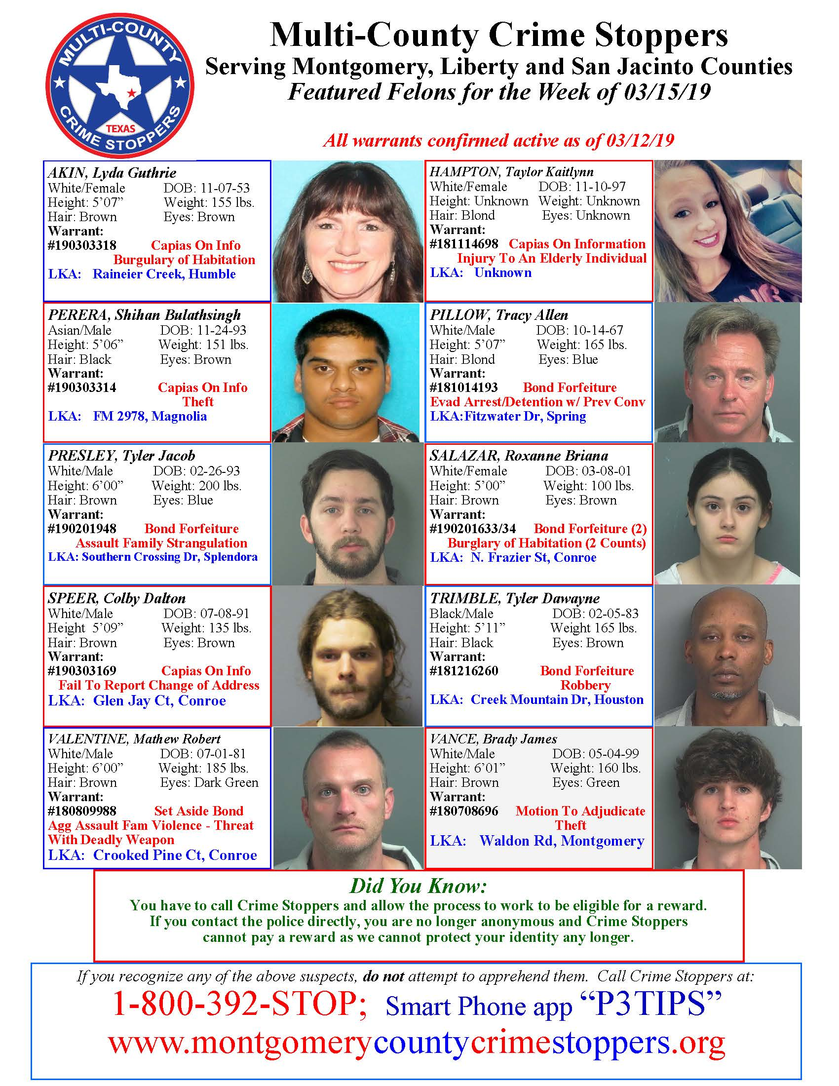 Crime Stoppers Featured Felons 03.15.19