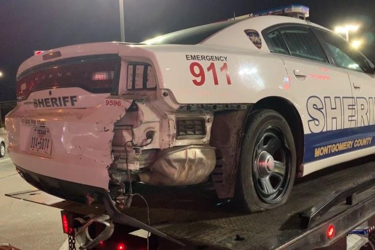 MCSO PATROL CAR HIT ON I-45
