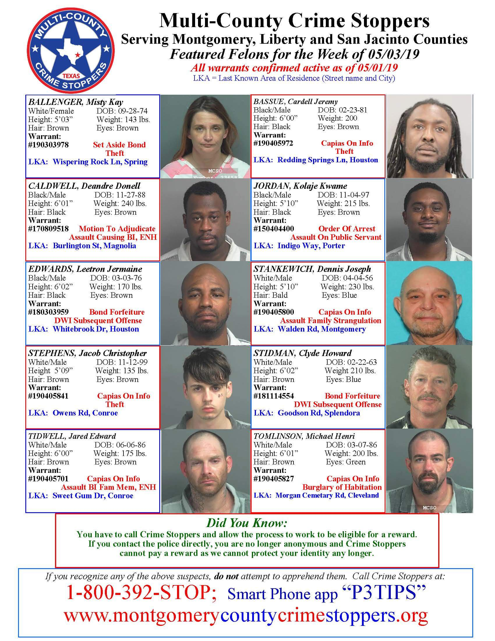 Crime Stoppers Featured Felons 05/03/19
