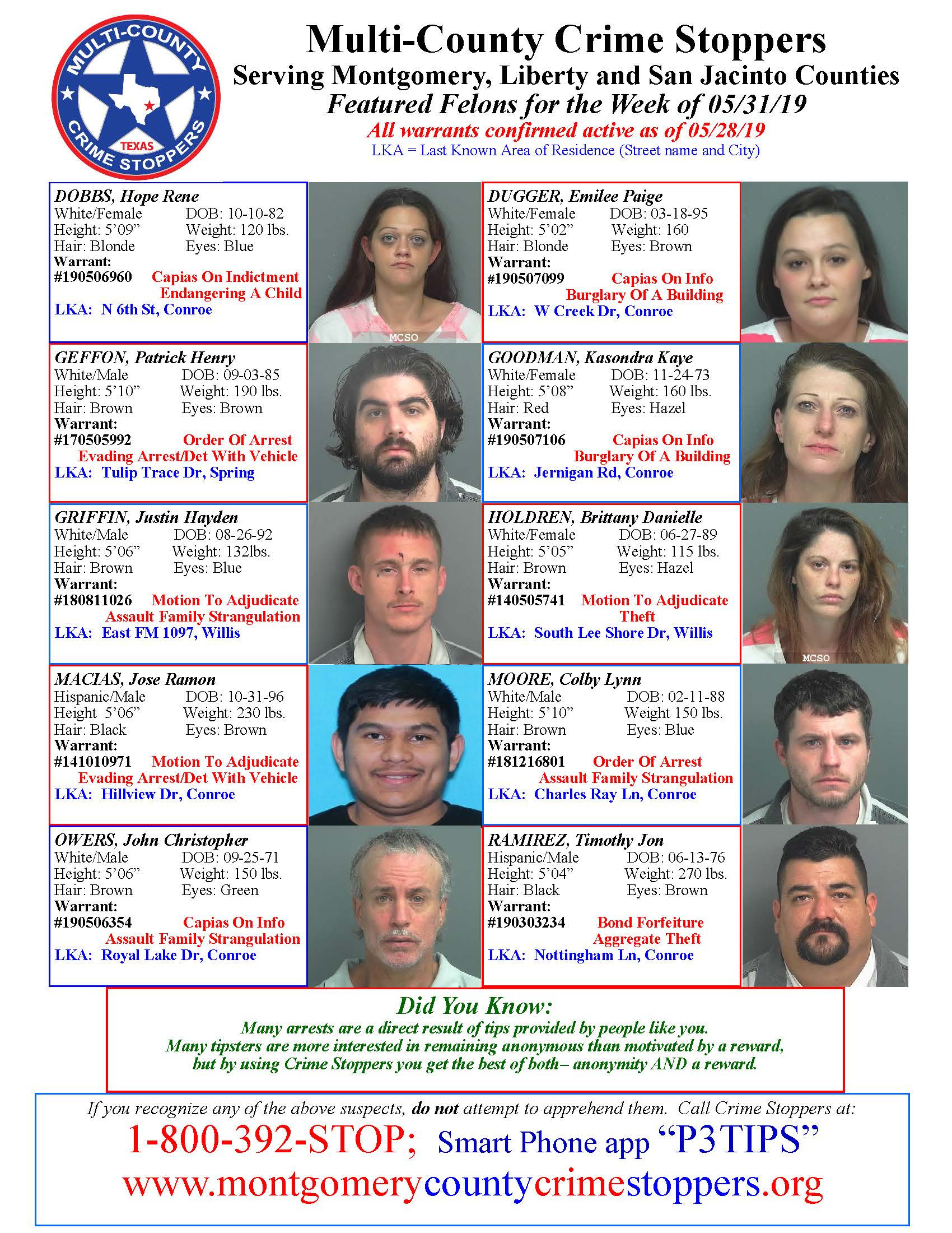 CRIME STOPPERS FEATURED FELONS 05.31.19
