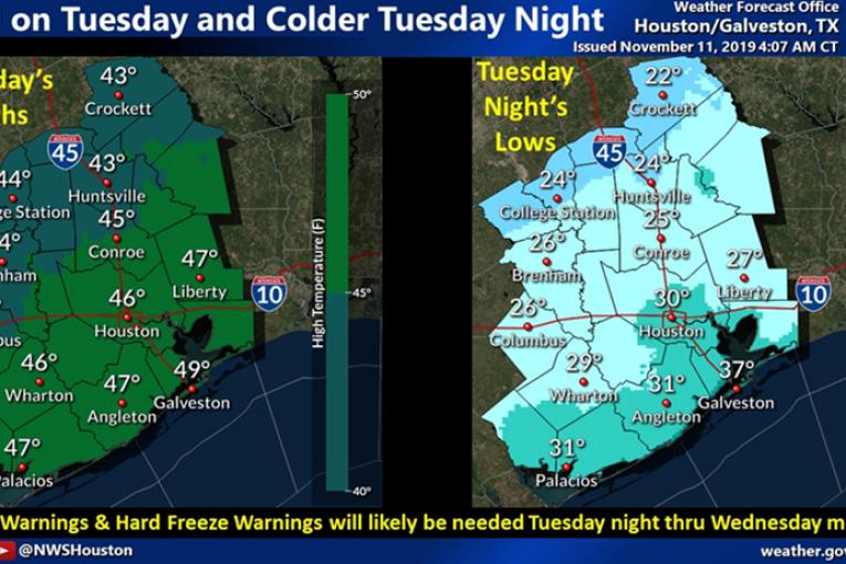 Freeze Warning in Montgomery County -Freezing Rain, Sleet Possible