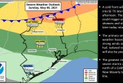 Enhanced Risk for Severe Thunderstorms over parts of SE TX