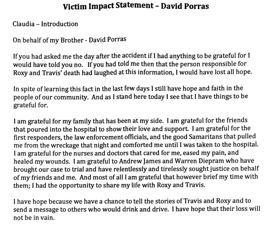 VICTIM IMPACT STATEMENT OF THE LONE SURVIVOR OF THE WRONG